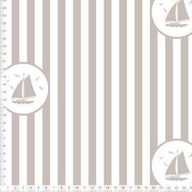 Maritimer Stoff mit Segelbooten und Streifen in Taupe zum Nähen für Kinderzimmer und Babyzimmer