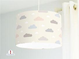 Lampe für Kinderzimmer mit Wolken in Pastell aus Baumwollstoff - alle Farben möglich