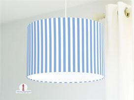 Lampenschirm für Kinderzimmer mit Streifen in hellem Blau aus Bio-Baumwollstoff - alle Farben möglich