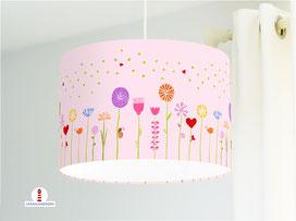 Lampe Kinderzimmer Blumen Mädchen auf hellem Rosa aus Bio-Baumwolle - alle Farben möglich