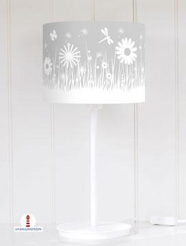 Lampenschirm für Tischlampe Kinderzimmer Mädchen Blumenwiese in hellem Grau aus Baumwolle - alle Farben möglich
