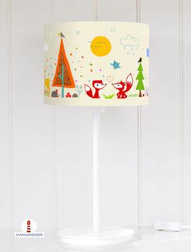 Lampenschirm für Tischlampe Wald Tiere aus Baumwolle - alle Farben möglich