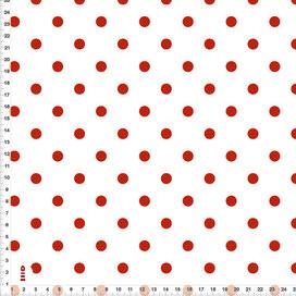 Bio-Stoff für Babyzimmer und Kinderzimmer mit roten Punkten auf Weiß aus Bio-Baumwollstoff - alle Farben möglich