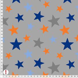 Bio-Baumwolle Stoff Sterne Orange Blau zum Nähen - alle Farben möglich