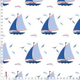 Bio-Stoff maritim mit Segelbooten für Jungs Kinderzimmer und Babys aus Baumwollstoff - alle Farben möglich