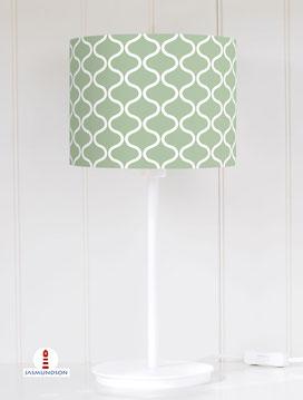 Lampenschirm für Tischlampe für Schlafzimmer mit skandinavischem Muster in Salbei aus Baumwolle - alle Farben möglich