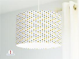 Lampe Schlafzimmer gepunktet Perlenkette in Petrol und Senfgelb aus Bio-Baumwolle - alle Farben möglich