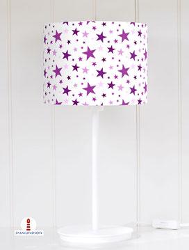 Tischlampe fürs Kinderzimmer mit Sternen in Lila aus Baumwolle - alle Farben möglich