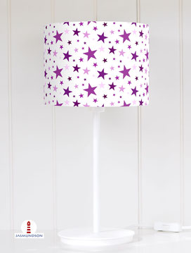 Lampenschirm für Tischlampe fürs Kinderzimmer mit Sternen in Lila aus Baumwolle - alle Farben möglich