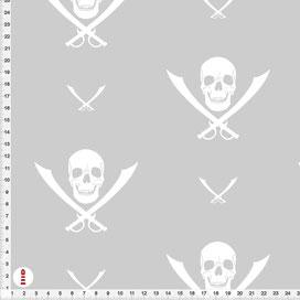 Bio-Stoff Kinderzimmer Pirat Totenkopf aus Bio-Baumwolle - alle Farben möglich