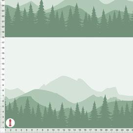 Bio-Stoff Kinderzimmer Berge Wald in Tannen-Grün aus Baumwollstoff - alle Farben möglich
