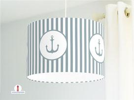 Lampenschirm fürs Kinderzimmer und Schlafzimmer mit Ankern und Streifen maritim aus Baumwolle - andere Farben möglich