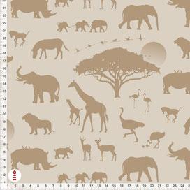Bio-Stoff Tiere Safari für Babys Kinderzimmer in Cappuccino aus Baumwolle zum Nähen - alle Farben möglich