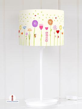 Lampenschirm für Tischlampe Kinderzimmer Mädchen Blumen in hellem Beige aus Baumwolle - alle Farben möglich