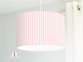 Lampenschirm für Kinderzimmer mit Streifen in Rosa aus Bio-Baumwollstoff - alle Farben möglich