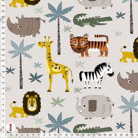 Bio-Stoff Afrika Tiere Safari für Babys Kinderzimmer aus Baumwolle zum Nähen - alle Farben möglich