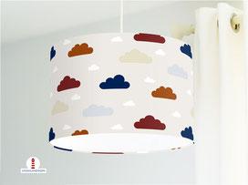 Kinderzimmer Lampe Wolken Rotbraun Blau auf Beige-Grau aus Bio-Baumwollstoff - alle Farben möglich