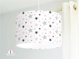 Lampe für Babys und Kinderzimmer mit Sternen in Grau und Rosa aus Bio-Baumwollstoff - alle Farben möglich