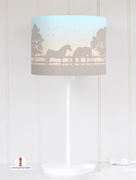 Lampenschirm für Tischlampe Pferde Mädchen aus Baumwolle - alle Farben möglich