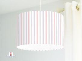 Lampe gestreift Babyzimmer Altrosa Flieder Grau aus Bio-Baumwolle - alle Farben möglich