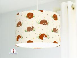 Lampe für Kinderzimmer und Babys mit Fuchs Hase und Reh aus Bio-Baumwolle - alle Farben möglich