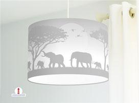 Lampe für Kinderzimmer mit Elefanten in Grau aus Bio-Baumwolle - alle Farben möglich