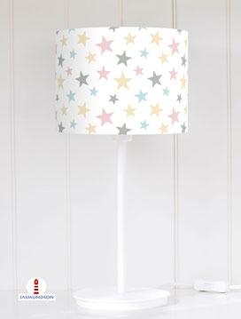 Lampenschirm für Tischlampe Kinderzimmer Sterne Pastell aus Baumwollstoff - alle Farben möglich
