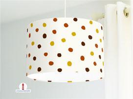 Lampe für Kinderzimmer und Babys mit Punkten auf Creme aus Bio-Baumwollstoff - alle Farben möglich