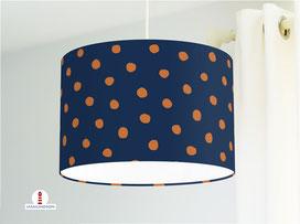 Lampe Kinderzimmer gepunktet in Orangerot und Dunkelblau aus Bio-Baumwolle - alle Farben möglich