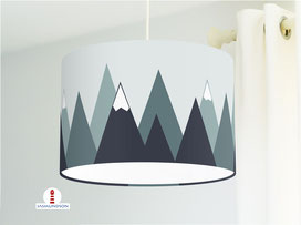 Lampe für Jungs und Kinderzimmer mit Berg-Motiv aus Baumwolle - andere Farben möglich