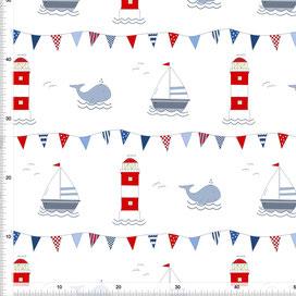 Stoff für Kinderzimmer mit Wal Leuchtturm und Segelboot zum Nähen aus Baumwolle - alle Farben möglich