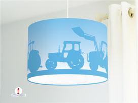 Lampe Traktor für Jungs und Kinderzimmer aus Bio-Baumwolle in Blau - alle Farben möglich