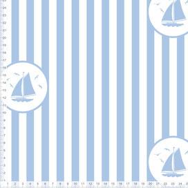 Bio-Stoff maritim für Kinder und Babys mit Segelbooten und Streifen in Hellblau zum Nähen