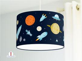 Lampe Weltraum Kinderzimmer in Dunkelblau aus Bio-Baumwollstoff - alle Farben möglich