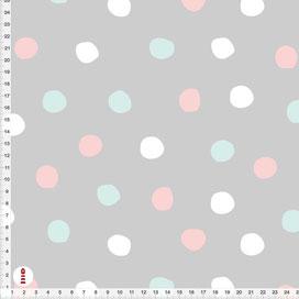Bio-Stoff für Babyzimmer mit Punkten in Rosa Türkis und Weiß auf Grau aus Baumwollstoff - alle Farben möglich