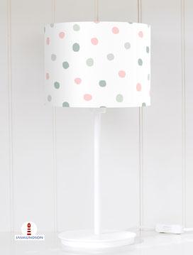 Lampenschirm für Tischlampe Mädchen Kinderzimmer gepunktet aus Baumwolle - alle Farben möglich