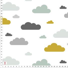 Stoff Wolken Kinderzimmer in Mint Senfgelb und Grau zum Nähen aus Baumwolle - alle Farben möglich