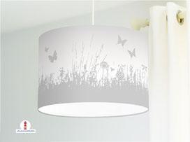 Lampe für Mädchen und Kinderzimmer mit Blumenwiese in Grau aus Bio-Baumwolle - alle Farben möglich