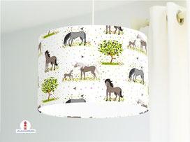 Mädchenzimmer Lampe Pferde aus Bio-Baumwolle - alle Farben möglich