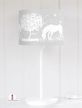 Lampenschirm für Tischlampe Kinderzimmer Mädchen Pferde aus Baumwolle - alle Farben möglich