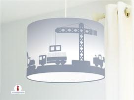 Lampenschirm Kinderzimmer Baustelle Jungs Grau-Blau Baumwolle - alle Farben möglich