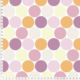 Bio-Stoff für Mädchenzimmer mit großen Punkten in Pastell aus Baumwolle zum Nähen - alle Farben möglich
