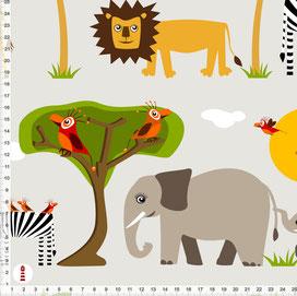 Stoff für Babys und Kinderzimmer mit großen Safari-Tieren auf Hellgrau aus Baumwolle zum Nähen - andere Farben möglich