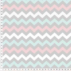 Bio-Stoff für Wohn- und Kinderzimmer mit ZickZack Muster aus Baumwolle - alle Farben möglich