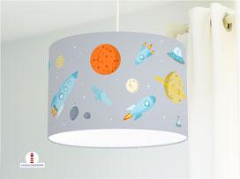 Lampe für Kinderzimmer Weltall aus Baumwollstoff - alle Farben möglich