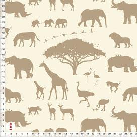 Bio-Stoff für Bio-Stoff Kinderzimmer Safari-Tiere Afrika in Cappuccino und Beige aus Bio-Baumwolle zum Nähen - alle Farben möglich mit Afrika-Tieren in Grau aus Baumwolle zum Nähen - andere Farben möglich