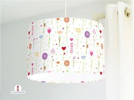 Lampe Kinderzimmer Mädchen bunte Blumen aus Bio-Baumwollstoff - alle Farben möglich