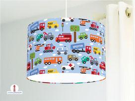 Hängelampe mit Autos fürs Kinderzimmer in Hellblau aus Baumwolle
