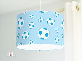 Lampe für Jungs und Kinderzimmer Fußball in Blau aus Bio-Baumwolle - alle Farben möglich