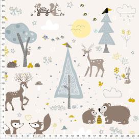 Bio-Stoff für Babys und Kinder mit Waldtiere Ocker Grau auf Beige zum Nähen aus Baumwolle - alle Farbe möglich